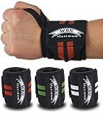 WBN Maximum Handgelenkbandagen und Griffpolster (2Paar/4Stk) Wrist Wraps Grip Pads Handgelenk Bandagen 45 cm – Krafttraining,Bodybuilding,Powerlifting,Gewichtheben