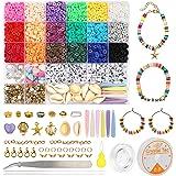 Yuccer 4165 Stück Polymer Clay Perlen zum Auffädeln Kinder 18 Farben Perlen für Schmuckherstellung, Armband, Halskette DIY Ge