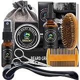 Beard Growth Kit w/Natural Beard Growth Oil,Beard Balm,Roller Cleanser,Comb,Brush,Scissors,Bag,E-Book,Beard Care Grooming Kit