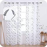 Amazon Brand - Umi Lot de 2 Rideaux Voilage Blanc Effet Lin avec Motif Broderie Rideau de Porte a Oeillet Gris 140x280cm