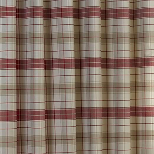 RED BEIGE NATURAL TARTAN CURTAINS Check COTTON Look EYELET Ring ...