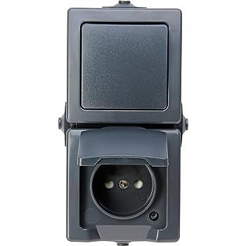 Aufputz Steckdose IP44 16A//250V Feuchtraum m Klappdecke 2-fach 0325-01