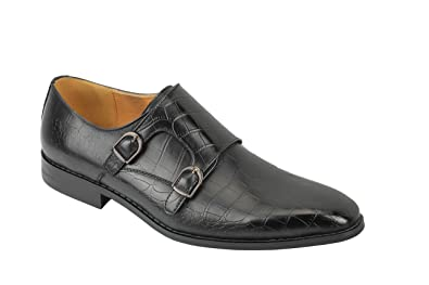Mens Black Brown Leather Classic Double Monk Strap Buckle Retro Slip On Loafer Shoes