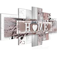 Runa Art - Bilder Home Herz 200 x 100 cm 5 Teilig XXL Wanddekoration Design Grau Rosa 504551b