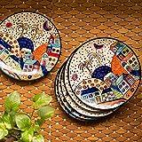 ExclusiveLane Hut Handpainted Ceramic Dinner Plates Dinnerware Serving Plate Thali Ceramic Plates for Dinner (6 Pieces…
