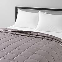 Amazon Basics Couverture lestée en coton, toutes saisons, 5,4 kg, 120 x 180 cm (lit double), gris foncé
