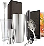 VonShef Cocktail Set – Boston Cocktail Shaker Kit 8 Piece in Gift Box with Accessories Including Glass, Jigger and Strainer