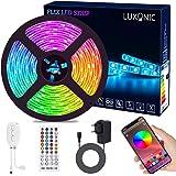 Bande Lumineuse Bluetooth 5M 150 Leds, LUXONIC Ruban à LED 5050 RGB Étanche, Contrôlé par APP du Smartphone Android et iOS, a