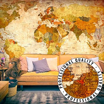 Vlies Fototapete Wandtapete Tapete Vintage Weltkarte mit Kleister