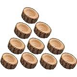 POFET Juego de 10 portavelas de madera con corteza de corteza de flores, soporte para bolígrafos, rama de madera, soporte par