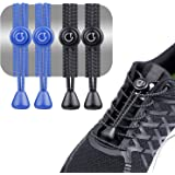 Gritin Cordones Elásticos para Zapatillas, 2 Paquetes(Negro y Azul) Cordones Elasticos para Zapatillas Zapatos Deporte con Si