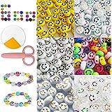 oGoDeal 600 Stück Smiley Perlen zum Auffädeln Kinder, Bunt Emoji Fädelperlen Beads Smiley Bastelperlen Lächeln Perlen für Arm