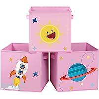 SONGMICS Boîtes de Rangement, Lot de 3, Organisateurs pour Jouets, Cubes Pliables avec poignées, pour Chambre d'enfant…