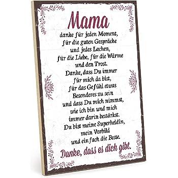 Amazon De Typestoff Holzschild Mit Spruch Danke Mama Im Vintage