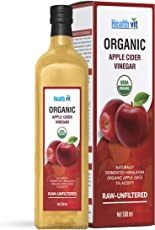 Healthvit USDA Organic Apple Cider Vinegar With The Mother -Raw-Unfiltered 500ml (Glass Bottle)