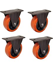 "Impoda 4 x Fix Wheel Castor / 200kg Load Capicity (Brown-Orange) (Wheel Size 2""))"