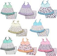 Kurtzy Baby Girl's Cotton Printed Frock Dress with Nappies, 0-6 Months (Multicolour, BD-003) - Set of 8