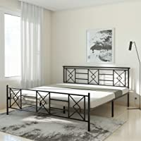 Amazon Brand - Solimo Cleo Glossy Metal King Bed (Black)