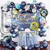 Joeyer Decoraciones Cumpleaños, 54 PCS Astronauta Tema Espacial Globos Pancarta de Cumpleaños Cortina de Flecos Cohete Globo