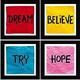 SAF Motivational Quotes Digital Reprint Painting (19 x 19 Inch) -Set of 4 SANFSD35N, Multicolour