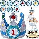 FORMIZON Cumpleaños Sombrero, Corona Tela Cumpleaños, 0-9 Años Azul Corona De Tela Decoración, Corona Cumpleaños Infantil, Co