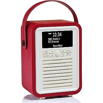 VQ Retro Mini DAB+ Radio digitale con FM, Bluetooth & Sveglia – Rosso