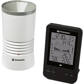 Bresser Stazione meteo professionale con orologio radiocontrollato DCF, sveglia, temperatura esterna, temperatura interna e umidità interna con luce di sfondo e memorizzazione dati di valori minimi e massimi.