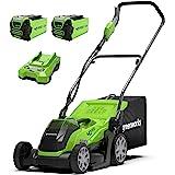 Greenworks Tondeuse à Batterie G40LM35K2X (Li-Ion 40V 35cm Largeur Coupe Jusqu'à 400M² 2 en1 Paillage et Tonte Corbeille, Rég