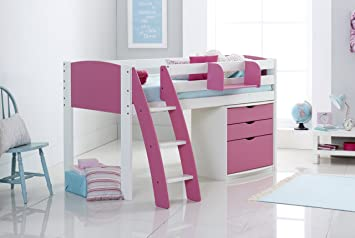 mid sleeper cabin bed shorty including 3 drawer chest u0026 hook on shelf curved