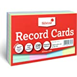 Silvine 5x3' Multi-coloured Record Cards - Lined with headline, 100 cards per pack. Ref 553AC (127 x 76mm)