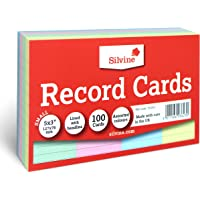 """Silvine 5x3"""" Multi-coloured Record Cards - Lined with headline, 100 cards per pack. Ref 553AC (127 x 76mm)"""