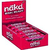 Nakd Berry Delight - Barritas de Fruta y Frutos Secos con Frambuesas - Sin Azúcar Añadido - Sin Gluten - Sin Lactosa - Vegano