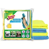 Scotch-Brite Microfiber Cloth/Wipe for Home, Kitchen, Appliance, Car Cleaning Pack of 4 pcs (40 cm x 40 cm, 340 GSM),Multicol