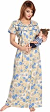Soulemo Premium Womens Feeding Nighty/Maternity Dress with.Soft P.C Fabric. Now with Front Open. 234F