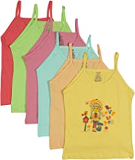 UCARE 100% Pure Cotton Printed Multi Color Slip for Girls & Kids (2002-Pack of 6)
