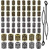60 cuentas de rastas vikingas para el pelo de la barba, perlas de tubo de pelo nórdico antiguo, pulsera trenzada, colgante de