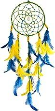 Paperiva Woolen Blend Handmade Dream Catcher Wall Hanging (Black and Yellow, 16x45cm)