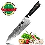 SHAN ZU Couteau de Chef Damas 21 cm, Japonais AUS10 Acier Damas 67 Couche Acier Couteaux de Cuisine Professionnelle Motif sergé avec G10 Poignée - GYO Series