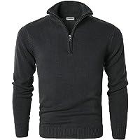 MOCOTONO Men's Jumper Turtle Neck Zip Sweater Long Sleeve Comfortable Cotton Knit Sweatshirt