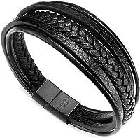 murtoo Herren Armband Edelstahl Echtleder Armband Geflochten Mit Magnet Verschluss(22cm) MEHRWEG