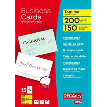 Decadry 285gsm Microline Business Cards Bright White Amazon