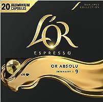L'Or Espresso Café Or Absolu - Intensité 9 - 100 Capsules en Aluminium Compatibles avec les Machines Nespresso (Lot de...
