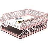 Exerz Letter Trays 2pcs Stackable Paper Sorter/ Desk Organiser/ File Tray for Desk - Wire Mesh Metal File Rack - Office, Scho
