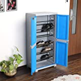 CelloNoveltyBig Plastic Shoe Rack with Lock(Blue and Grey)