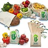 YourGreen 7er Set Obst- und Gemüsebeutel – 100% Baumwolle, extrem stabil, wiederverwendbar, fair und nachhaltig – INKL. Brotbeutel + Aufbewahrungstasche – umweltfreundliche Gemüsenetze & Obstnetze