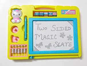 TOTAM Magic Black Double Sided Slate Chalk Board (Colour May Vary)