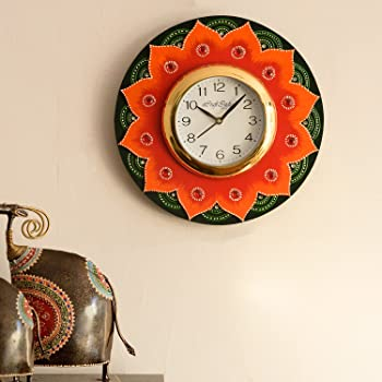 eCraftIndia Crystal Studded Floral Shape Handcrafted  Wooden Wall Clock (30 cm x 2.5 cm x 30 cm, KWC579)