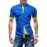 Lyon Becker Mens Designer Shirt Double Collar Button Down Slim Fit Casual Shirt Short Sleeve