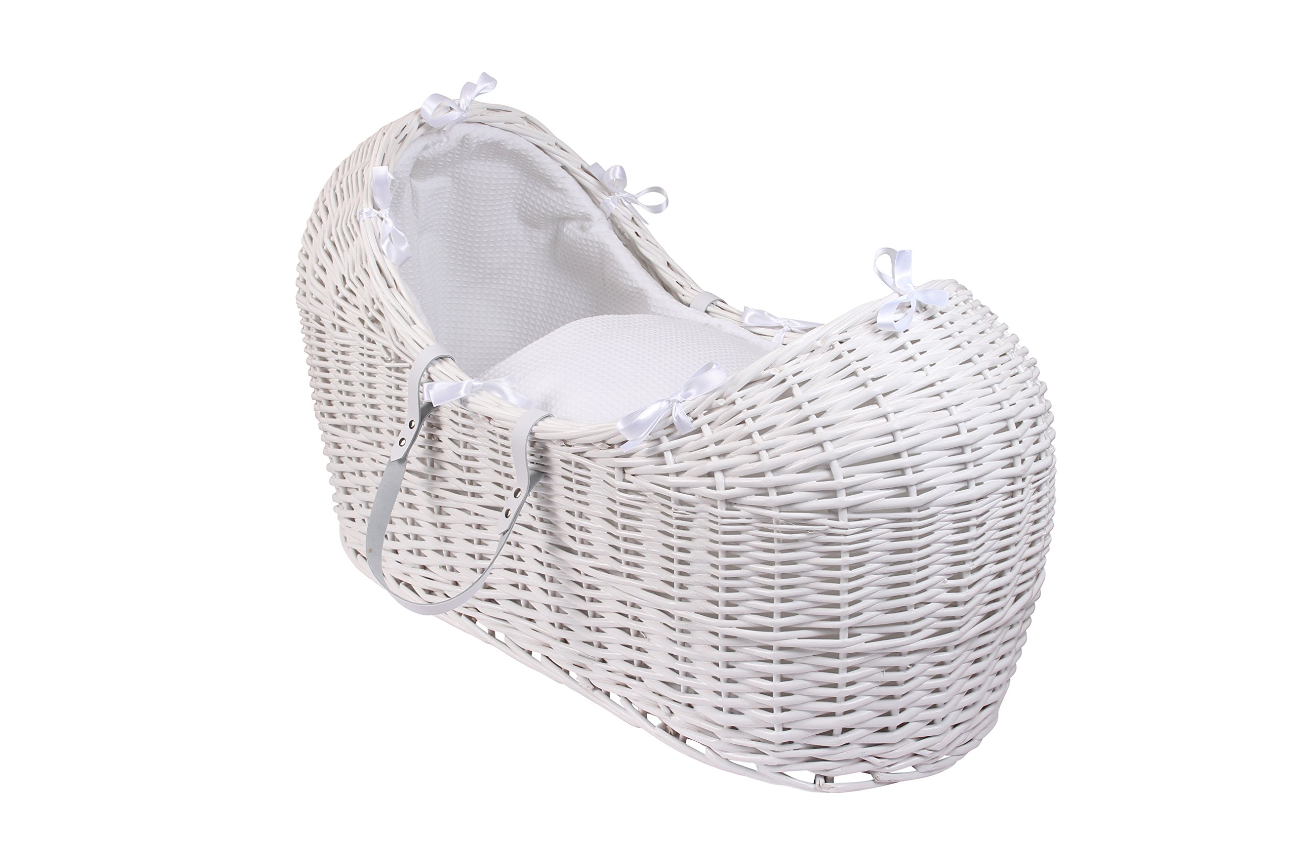 Clair de Lune Waffle White Wicker Noah Pod, White  A contemporary Moses basket design exclusive to Clair de Lune that creates a cocooned & calming sleeping space for baby. Comes complete with padded liner, delicately embroidered 2.0 tog coverlet and mattress. Dressings are made from super soft and breathable Waffle cotton fabrics. 1