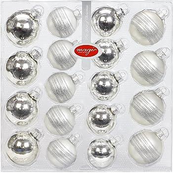 Weihnachtskugeln Silver Glam 3er Set 8cm Christbaumkugeln Silber Ausgefallen modern Glitzer Strass Glaskugeln Christbaumschmuck edel